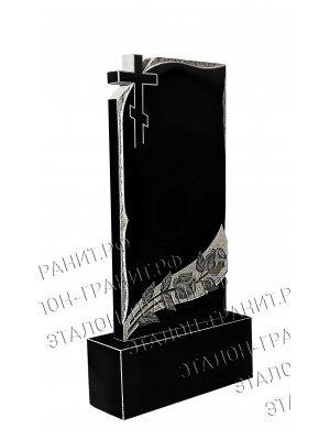 Гранитный памятник одинарный двухсторонний (1 портрет,Ф.И.О.,даты, доп. надпись) модель №018