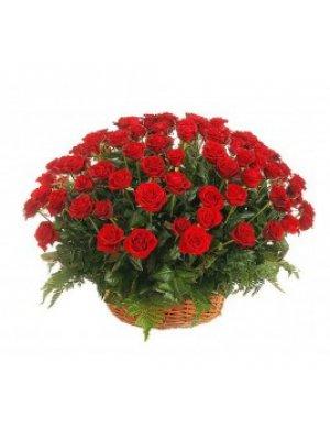 Корзина из живых цветов 3 (красные розы)