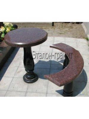 Гранитные стол и лавочка GSL_08