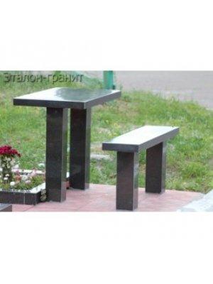 Гранитные стол и лавочка GSL_09
